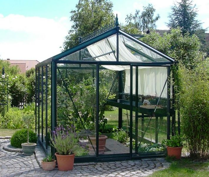 Greenhouse with normal door step